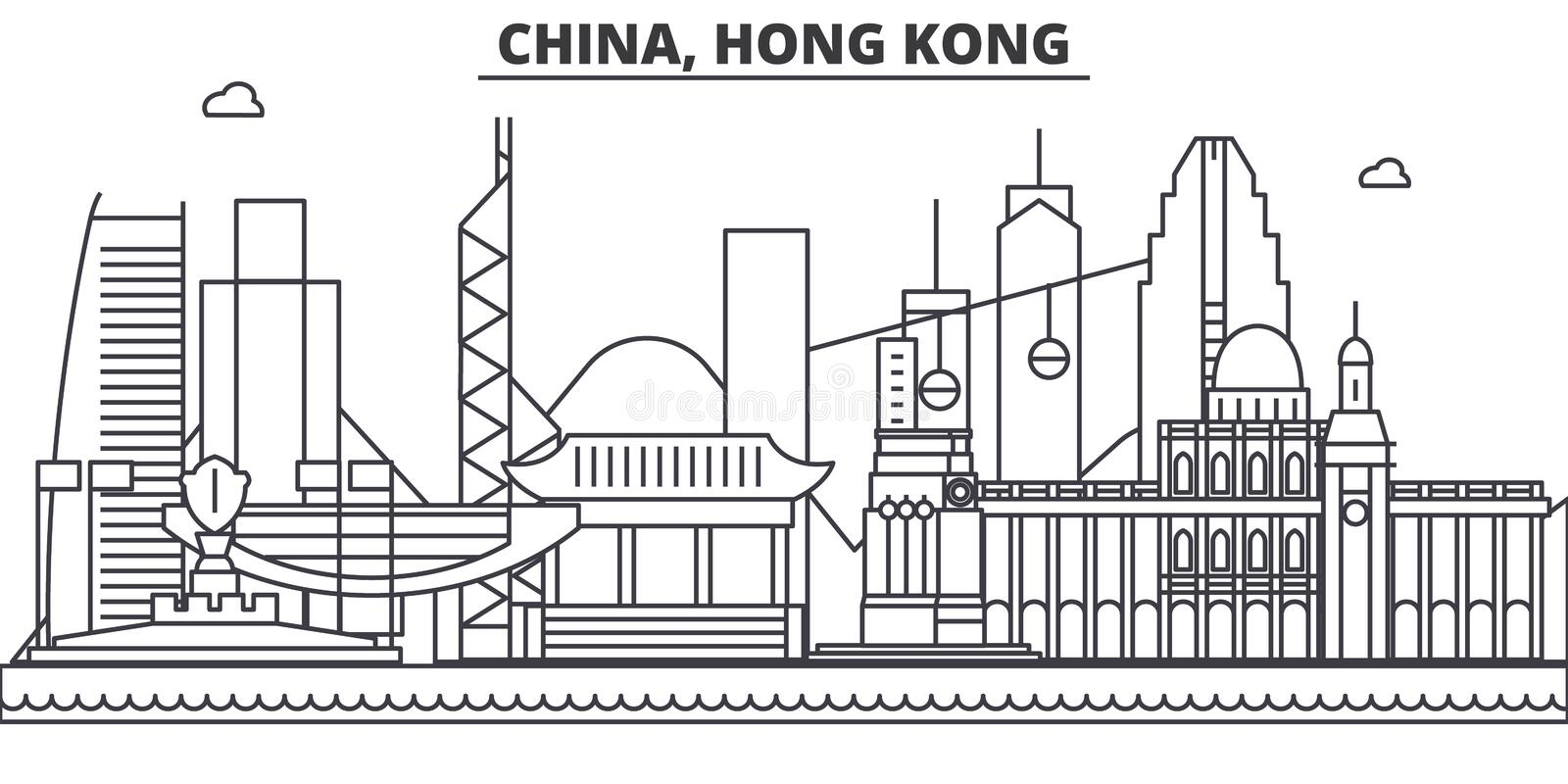 Download China Hong Kong 1 Architecture Line Skyline Illustration Linear Vector Cityscape With Famous