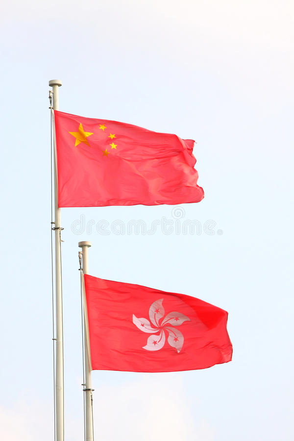 China & Hong Kong Flags stock photo