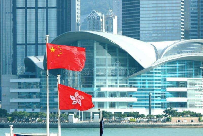 China & Hong Kong Flags Stock Photo