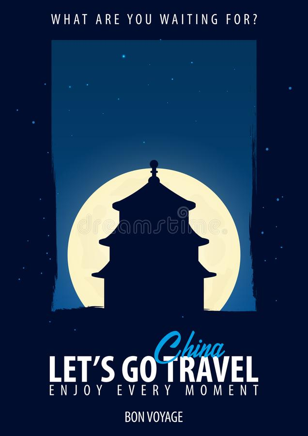 China Hora de viajar Viaje, viaje, vacaciones Fondo de la luna Bon Voyage stock de ilustración