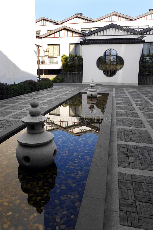 China hotel courtyard, oriental eastern style stock images
