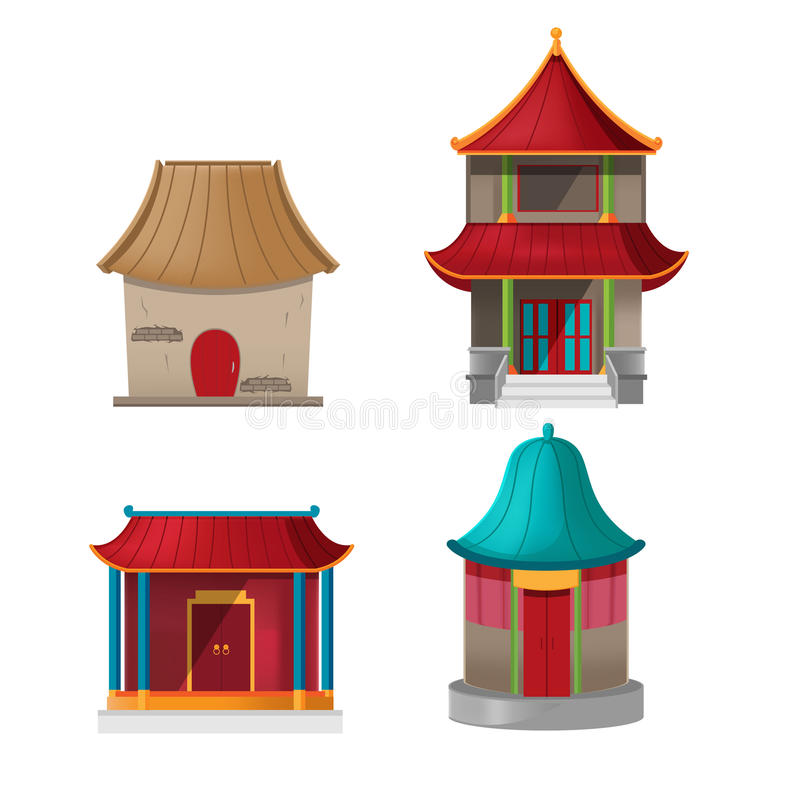 China House Design Collection Set Vector stock illustration