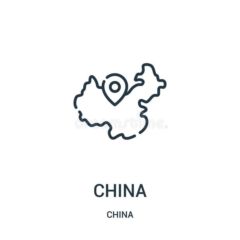 China icon vector from china collection. Thin line china outline icon vector illustration. Linear symbol for use on web and mobile. Apps, logo, print media stock illustration