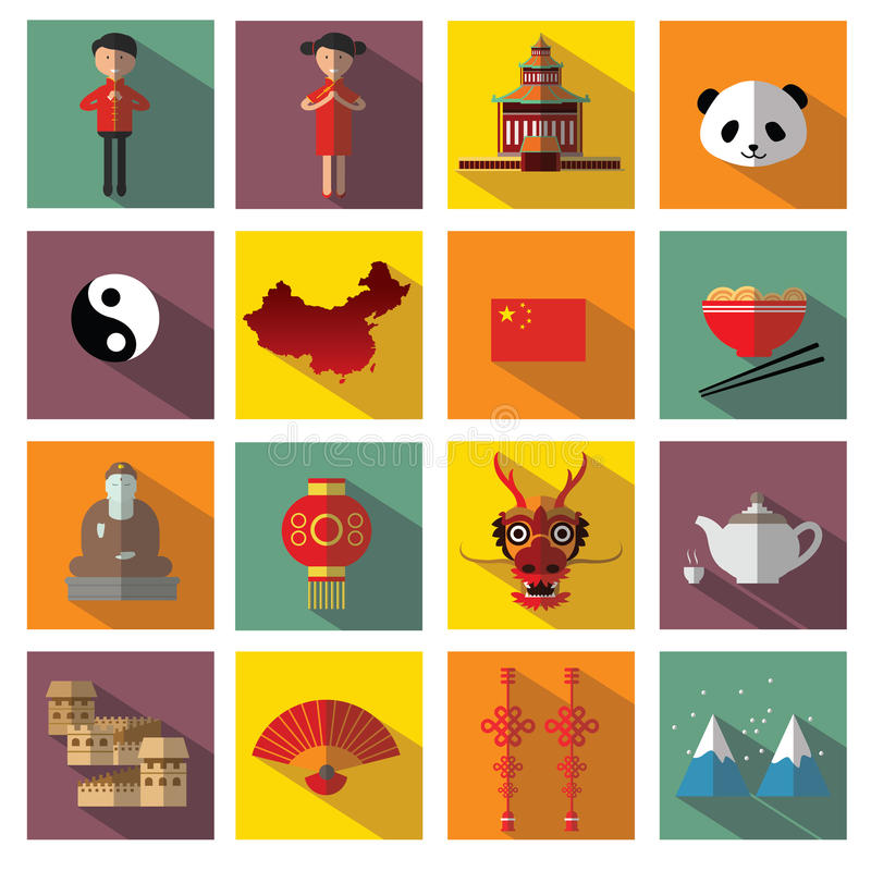 China icons stock illustration