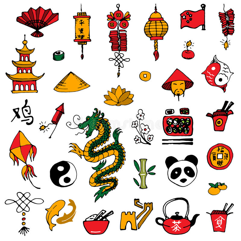 China icons sketch style stock illustration