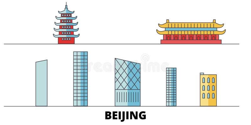 China, ilustração lisa do vetor dos marcos da cidade do Pequim China, perímetro urbano cidade do Pequim com vistas famosas do cur ilustração do vetor