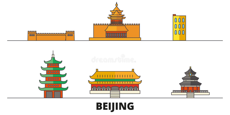China, ilustração lisa do vetor dos marcos do Pequim China, linha cidade com vistas famosas do curso, skyline do Pequim, projeto ilustração royalty free