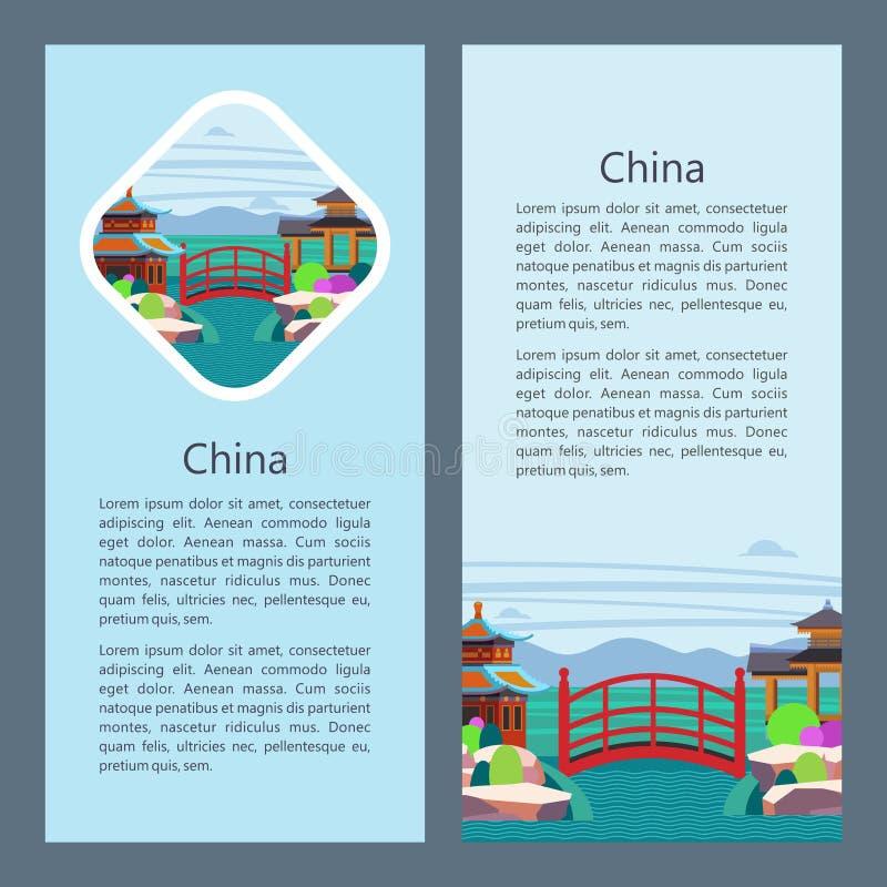 China Ilustración del vector Gazebo de madera chino y puente rojo sobre el río stock de ilustración