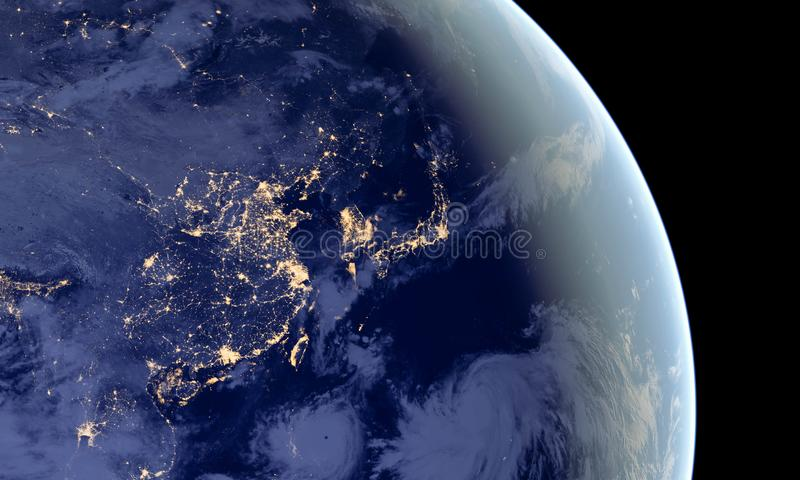 China and Japan lights during night as it looks like from space. Elements of this image are furnished by NASA.  stock images