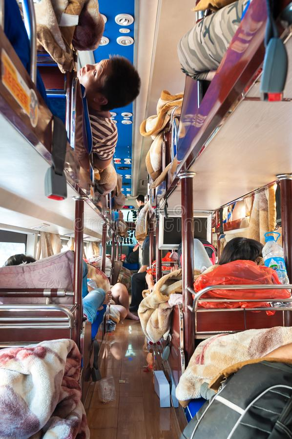Interior of a Chinese intercity sleeper bus stock images