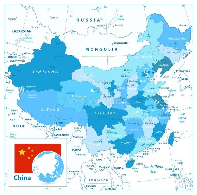China-Karte in den Farben des Blaus stock abbildung