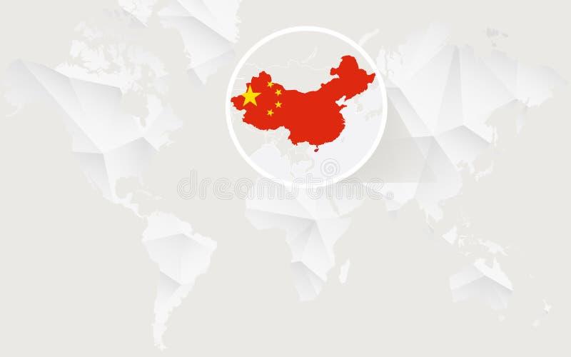 China-Karte mit Flagge in der Kontur auf weißer polygonaler Weltkarte lizenzfreie abbildung