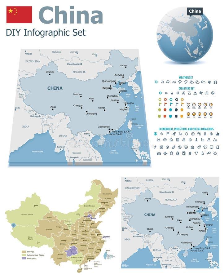 China-Karten mit Markierungen stock abbildung