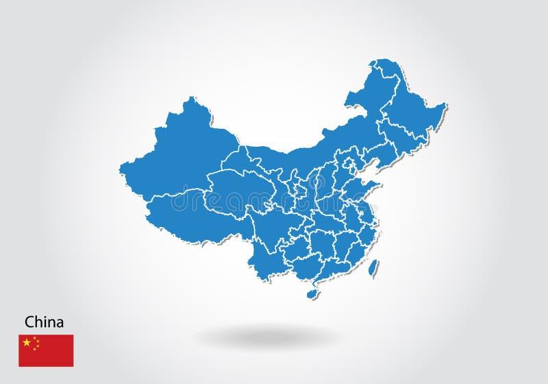 China-Kartenentwurf mit Art 3D Blaue Porzellan Karte und Staatsflagge Einfache Vektorkarte mit Kontur, Form, Entwurf, auf weißem vektor abbildung