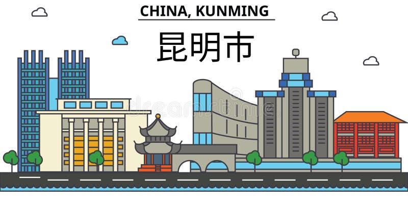 China, Kunming De architectuur Editable van de stadshorizon vector illustratie