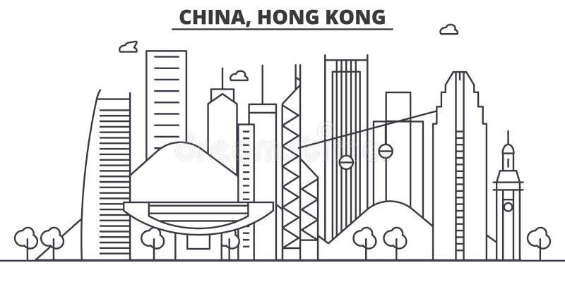 China, línea ejemplo de la arquitectura de Hong Kong del horizonte Paisaje urbano linear con las señales famosas, vistas del vect ilustración del vector