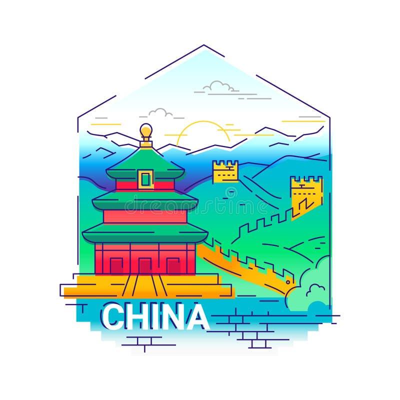 China - línea moderna ejemplo del vector del viaje ilustración del vector