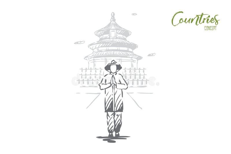 China, land, de bouw, Azië, mensenconcept Hand getrokken ge?soleerde vector royalty-vrije illustratie