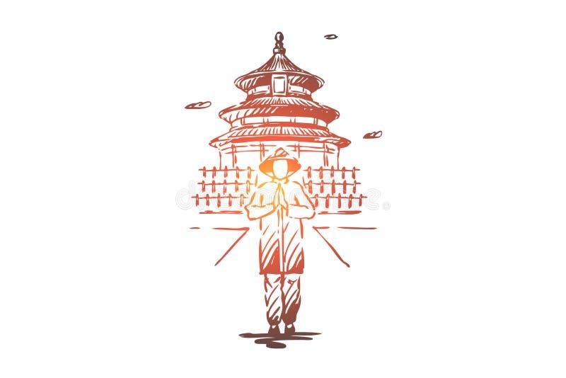 China, land, de bouw, Azi?, mensenconcept Hand getrokken ge?soleerde vector vector illustratie