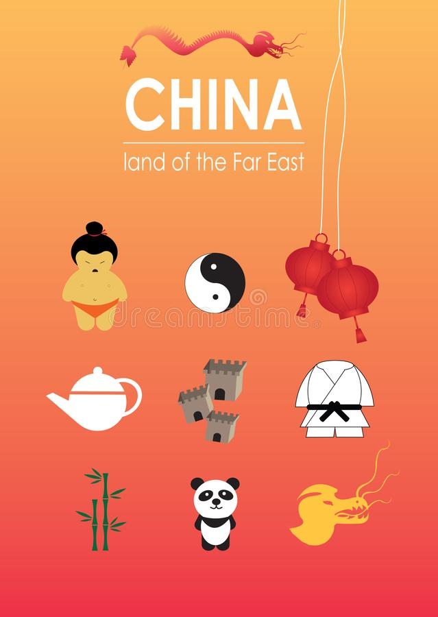 China land of far east with lots of elements royalty free illustration