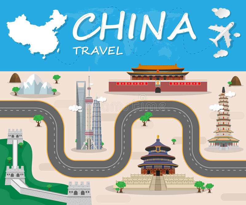 China Landmark Global Travel And Journey Infographic brochure. V stock illustration
