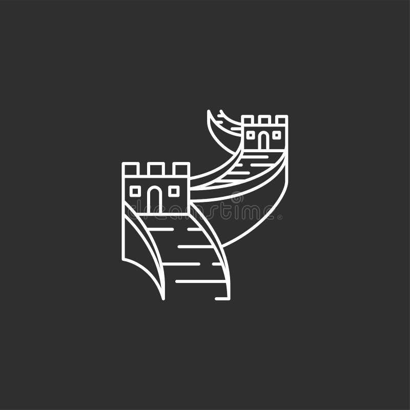 China landmark. Illustations in outline style vector illustration