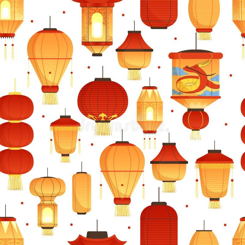China-Laternenmuster Nahtlose Illustration des asiatischen traditionellen Drache-Vektors der Symbole des farbigen Papiers des neu stock abbildung