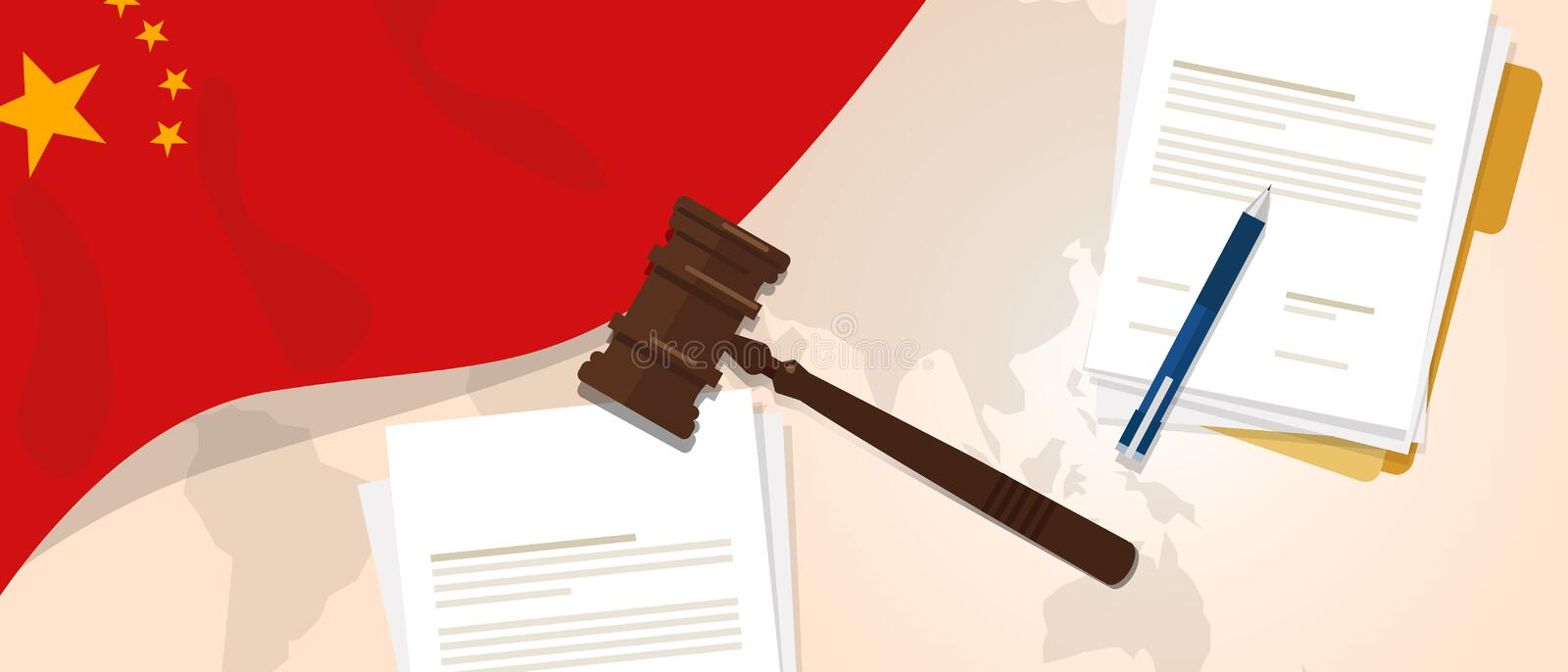 China law constitution legal judgment justice legislation trial concept using flag gavel paper and pen royalty free illustration