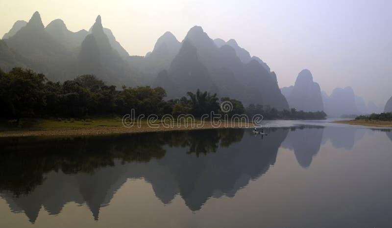 China - Li River at Guilin. Limestone Karst (hills) along the Li River at Guilin in southern China stock images