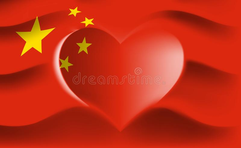 China with love. Chinese national flag with heart shaped waves. Background in colors of the chinese flag. Heart shape, vector. Illustration vector illustration
