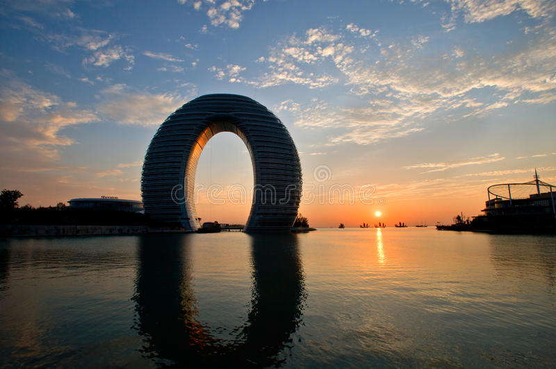 China, a luxury hotel in Lake Tai stock photography