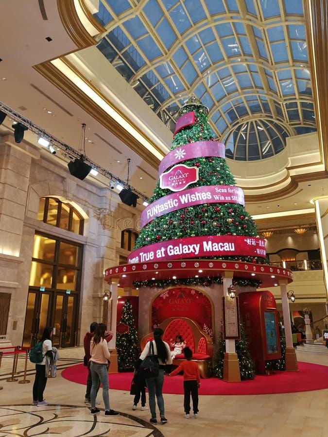2019 China Macao Macau Light Festival Christmas Tree Santa Claus Galaxy Hotel. Resort royalty free stock image