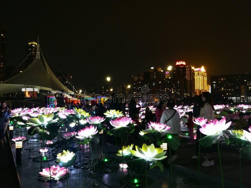 2019 China Macao Macau Light Festival Praia Grande Bay Nam Van Lake led lotus flower. Installation Display stock images