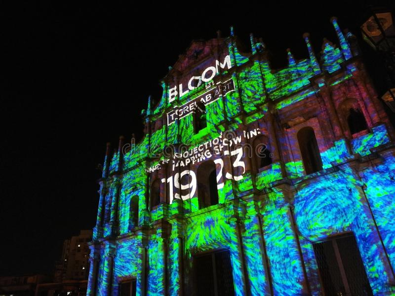2019 China Macao Macau Light Festival Ruins of St. Paul Projection Mapping Performance. S royalty free stock photos