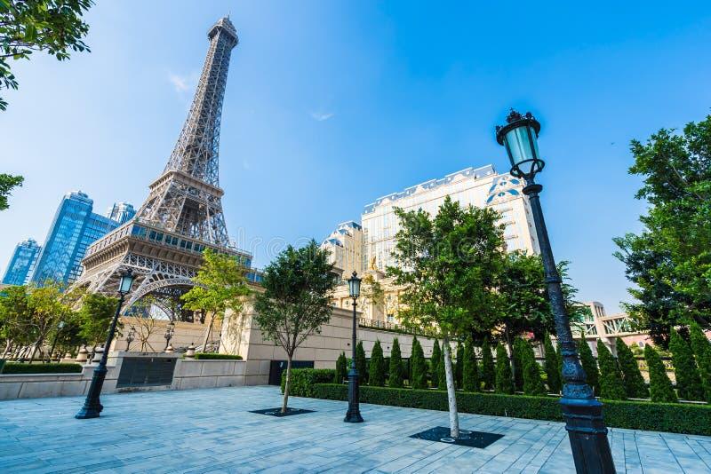 China, Macau - September 10 2018 - Beautiful eiffel tower landmark of parisian hotel and resort in macau city stock photo