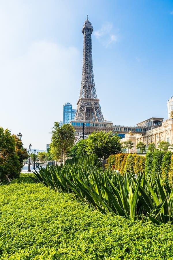 China, Macau - September 10 2018 - Beautiful eiffel tower landmark of parisian hotel and resort in macau city stock image