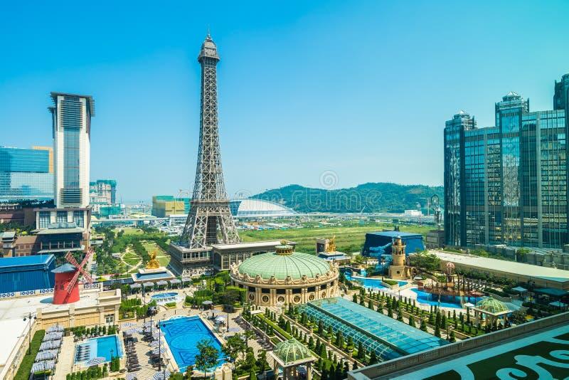 China, Macau - September 10 2018 - Beautiful eiffel tower landmark of parisian hotel and resort in macau city stock images
