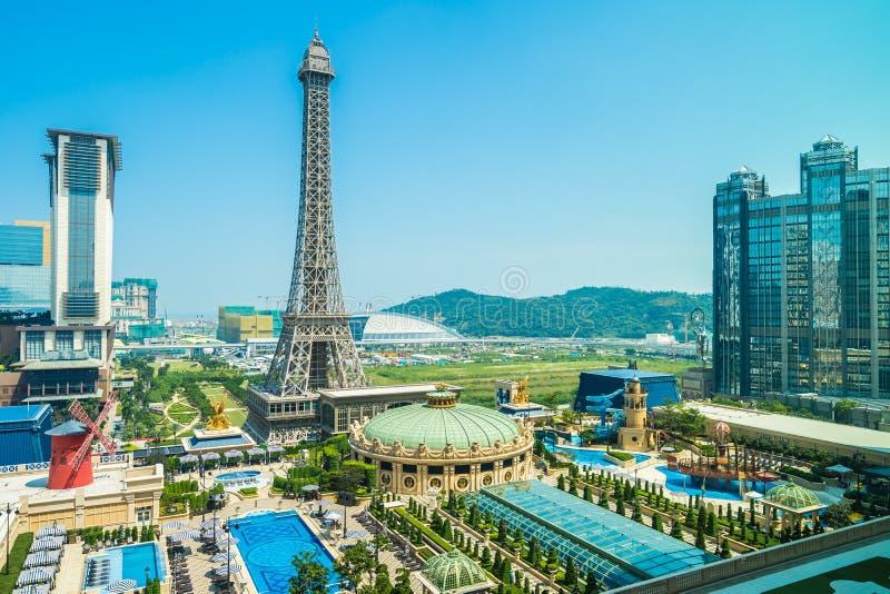 China, Macau - September 10 2018 - Beautiful eiffel tower landmark of parisian hotel and resort in macau city royalty free stock photography