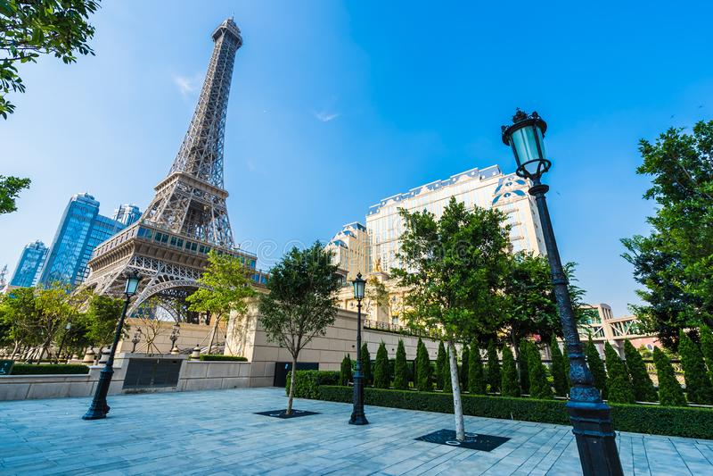 China, Macau - September 10 2018 - Beautiful eiffel tower landmark of parisian hotel and resort in macau city stock photography