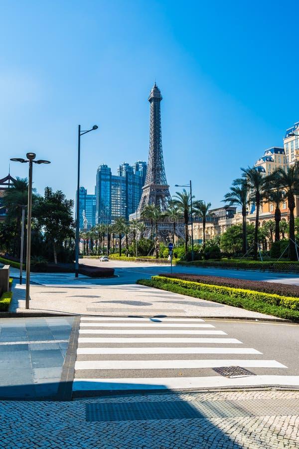 China, Macau - September 10 2018 - Beautiful eiffel tower landmark of parisian hotel and resort in macau city royalty free stock images