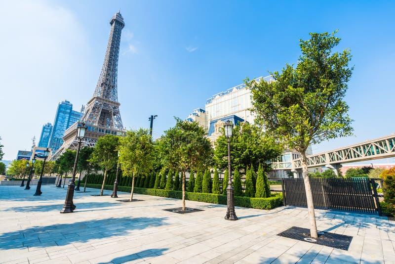 China, Macau - September 10 2018 - Beautiful eiffel tower landmark of parisian hotel and resort in macau city royalty free stock photo