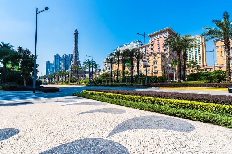 China, Macau - September 10 2018 - Beautiful eiffel tower landmark of parisian hotel and resort in macau city royalty free stock image