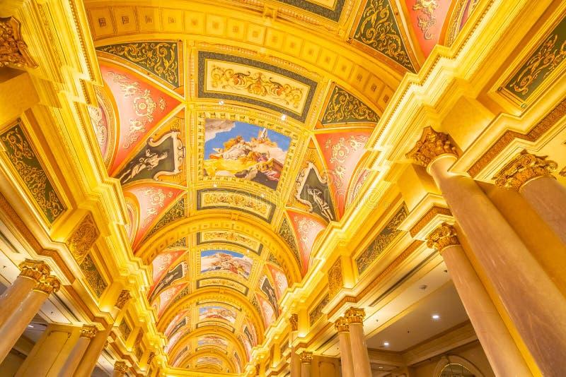 China, Macau - September 10 2018 - Beautiful luxury hotel resort. And casino game in Venetian landmark of macau city royalty free stock image