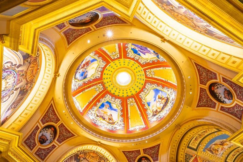 China, Macau - September 10 2018 - Beautiful luxury hotel resort. And casino game in Venetian landmark of macau city stock photography