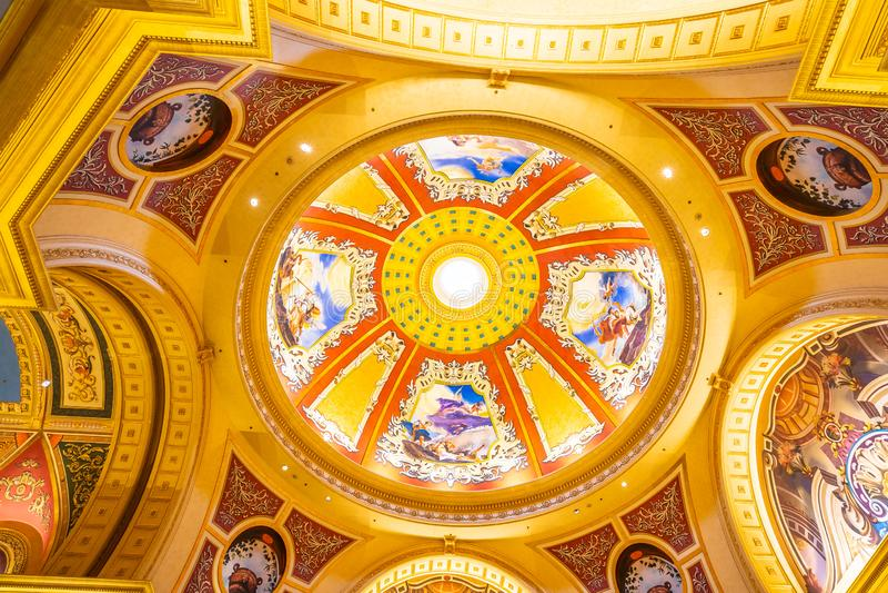 China, Macau - September 10 2018 - Beautiful luxury hotel resort. And casino game in Venetian landmark of macau city royalty free stock images