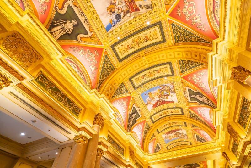 China, Macau - September 10 2018 - Beautiful luxury hotel resort. And casino game in Venetian landmark of macau city stock image