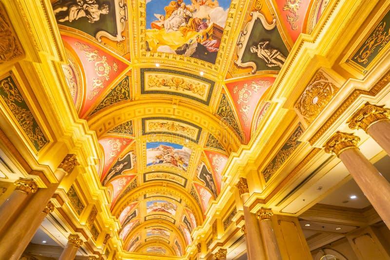 China, Macau - September 10 2018 - Beautiful luxury hotel resort. And casino game in Venetian landmark of macau city stock photos