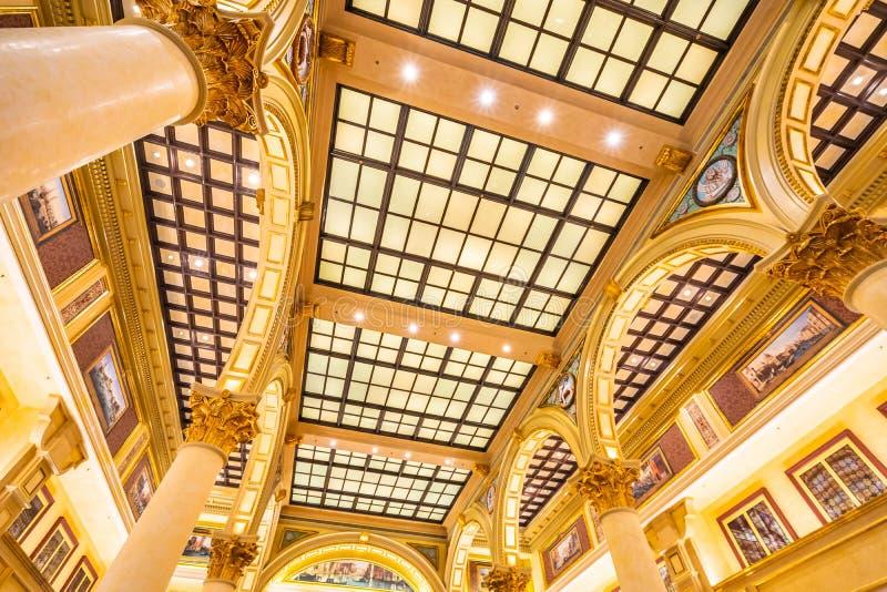China, Macau - September 8 2018 - Beautiful luxury venetian hotel resort and casio with shopping mall in macau city stock images