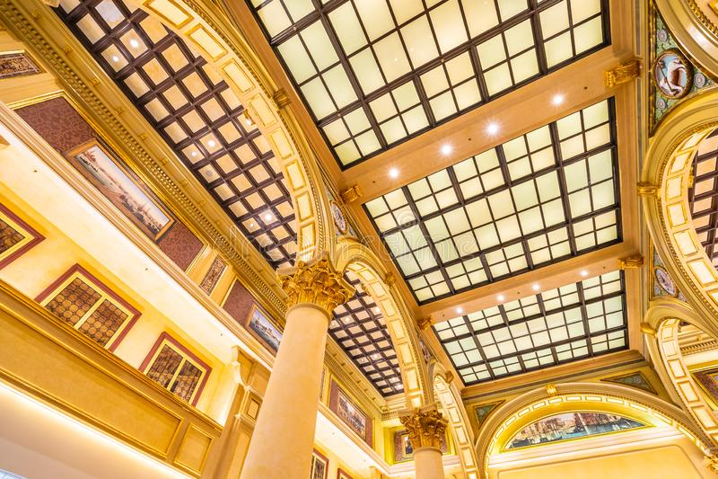 China, Macau - September 8 2018 - Beautiful luxury venetian hotel resort and casio with shopping mall in macau city stock photo