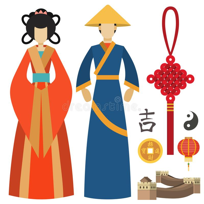 China Man And Woman East Culture Chinese Traditional Symbols Vector